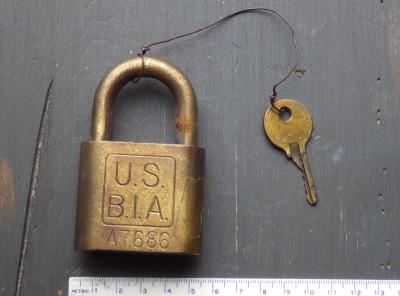 US Bureau of Indian Affairs Padlock and Key