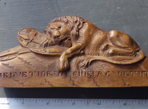 Old Wooden Carving of 'The Lyon of Lucerne'