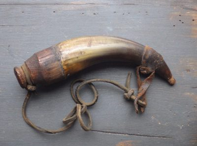 Revolutionary War Era Powder Horn With Original Leather