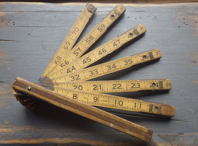 Classic Old Wood and Brass Folding Ruler