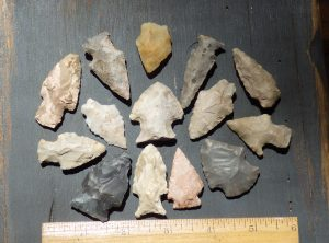 Collection of 14 Native American Arrowheads