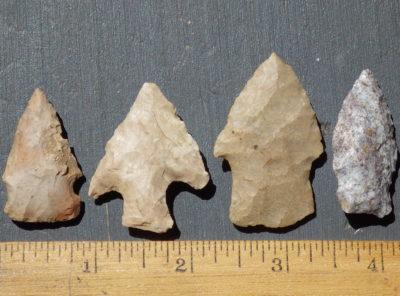4 Native American Indian Arrowheads
