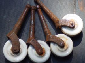 Antique Hardware – 4 Porcelain Casters
