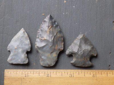 3 Nice Native American Indian Arrowheads